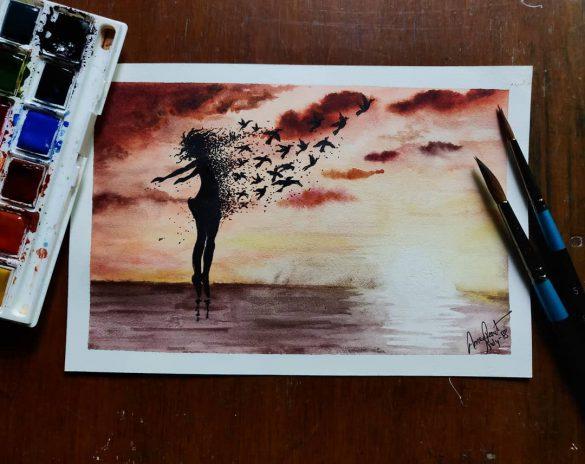 Watercolors painting