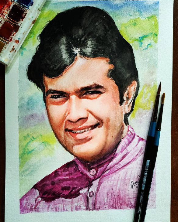Watercolor Portrait - Rajesh KHanna