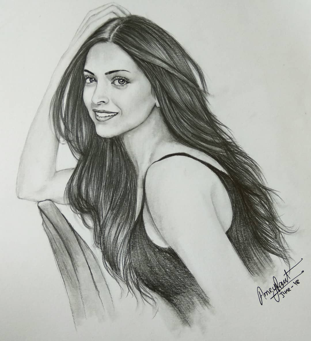 Deepika Padukone pencil sketch